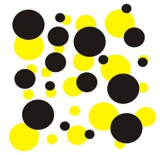 set of 106 Yellow and Black polka dots Vinyl wall lettering stickers quotes and sayings home art decor kit peel stick mural graphic appliques decal   Wall Banners