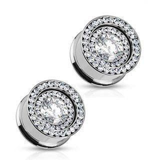 316L Surgical Steel Screw Fit Tunnel Plug with Clear Multi Cubic Zirconia Rim with Interchangeable Clear Multi Cubic Zirconia Inner Plate  00G (10mm), Sold As Pairs Jewelry