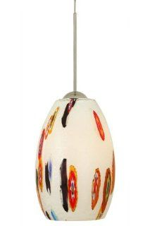 Stone Lighting PD128OPSNX3M Pendant, Satin Nickel Finish with Mouth Blown Murano Glass Shades