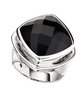 ELLE .925 Sterling Silver Fashion Jewelry Black Agate Ring Jewelry