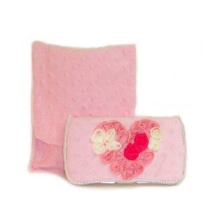 Pink minky with pink heart Diaper clutch and baby wipes case Baby