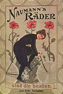 NAUMANN'S RADER FLOWERS GIRL RIDING A BICYCLE BIKE CYCLES VINTAGE POSTER CANVAS REPRO   Prints