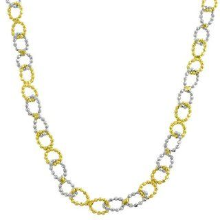 14 Karat Two Tone Gold Diamond Cut Bead Ball Infinity Link Necklace Jewelry