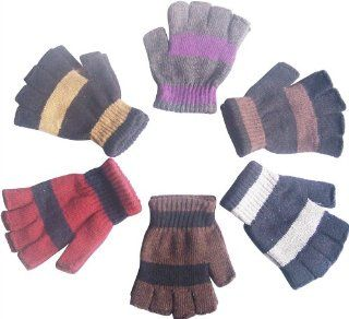 12 Pairs Wholesale Lot Knit Magic Kids Children Fingerless Stripe Gloves Assorted Colors