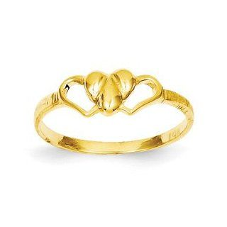 Genuine IceCarats Designer Jewelry Gift Size 5.00 14K Children's Heart Ring In 14K Yellow Gold. IceCarats Jewelry