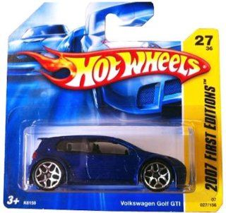 VOLKSWAGEN GOLF GTI (Blue) * 2007 Hot Wheels #027/156 First Editions #27/36 164 scale car on SHORT CARD