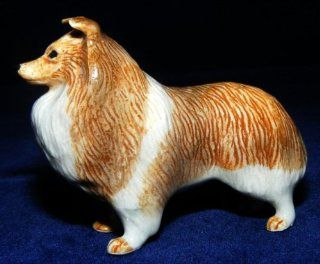 SHELTIE SHETLAND Sheep Dog Stands MINIATURE BIG DOG Porcelain Figurine KLIMA M152D   Collectible Figurines