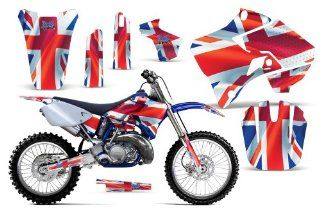 Union Jack AMRRACING MX Graphics decal kit fits Yamaha YZ 125/250 (1996 2001) Red White Blue Automotive