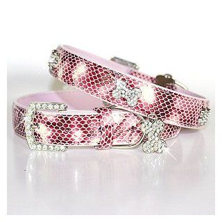 """The Wild Thing"" 157 Swarovski crystals jewelled Python Print Leather Dog Collar   Pink / Medium (12"" 16"")  Pet Collars"