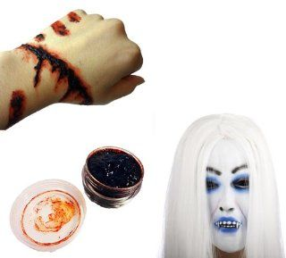 Set of 2 items for sale instant horror Mask vampire blood with glue AmanoSong original (A159) Hair Witch Halloween fancy dress costume cosplay event haunted haunted house horror gore (japan import) Toys & Games