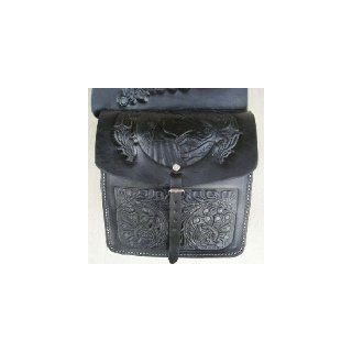 Saddle Bag BLACK Genuine REAL Leather SADDL HANDTOOLED WESTERN SADDLE BAG Sports & Outdoors