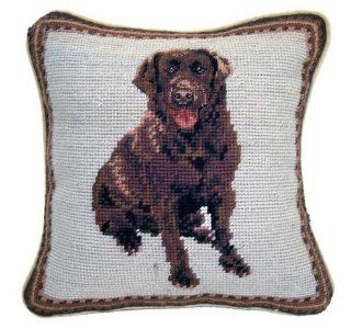 "Chocolate Labrador Retriever Dog Needlepoint Throw Pillow 10""   Labrador Retriever Decor"
