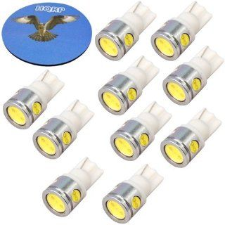 HQRP 10 pack T10 Wedge Base 4 LEDs SMD LED Bulbs Cool White for #194 #168 W5W RV Interior / Ceiling / Porch Lights Replacement plus HQRP Coaster Automotive