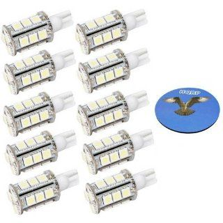HQRP 10 pack T10 Wedge Base 18 LEDs SMD LED Bulbs Warm White for #194 #168 Cruiser RV Fun Finder Travel Trailer RV Interior / Ceiling Lights Replacement plus HQRP Coaster Automotive