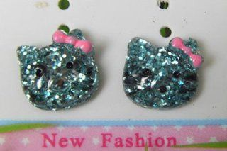 JC182 Cute Hello Kitty with 5 Colors, Faux Stone Magnet Earrings  Green Jewelry