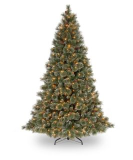 7.5 ft. Glittery Bristle Pine Hinged Pre Lit Christmas Tree with White Tipped Cones   Christmas Trees