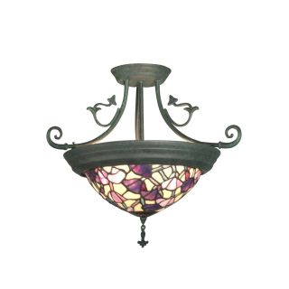 Dale Tiffany Pink Floral Hanging Fixture   17 watt in. Verdigris   Tiffany Ceiling Lighting