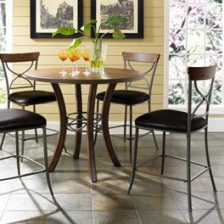 Hillsdale Cameron 5 Piece Counter Height Round Wood Dining Table Set with X Back Chairs   Dining Table Sets