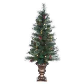 4 ft. Pre Lit Potted Hard needle Lodge Berry Pine Christmas Tree with Pinecones   Christmas Trees