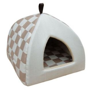 Pet Pals Group Checkered Hooded Pet Bed   Beige   Cat Beds