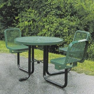 36 in. ADA Compliant Round Commercial Grade Picnic Table with Attached Chairs   Picnic Tables