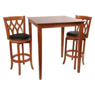 Boraam Cathedral 3 Piece Contemporary Pub Table Set   Light Cherry   Pub Tables