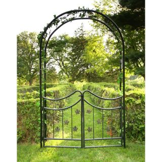 Tierra Derco Bacchus 7.75 ft. Iron Arch Arbor with Gate   Arbors