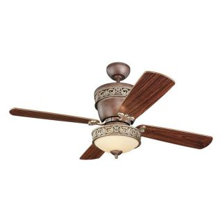 Monte Carlo 4VG42/28TBD L Villager 42 in. Indoor Ceiling Fan   American Walnut Blade   Tuscan Bronze   Ceiling Fans