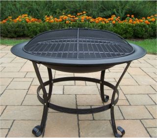 Oakland Living 30 in. Round Black Fire Pit with Grill and Cover   Fire Pits