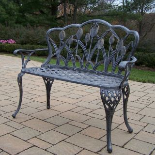 Oakland Living Tulip Cast Aluminum Curved Loveseat Bench in Antique Pewter Finish   Outdoor Benches