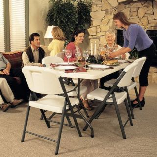 Lifetime 6 ft. Rectangle Commercial Folding Table and 8 Chair Set   Banquet Tables