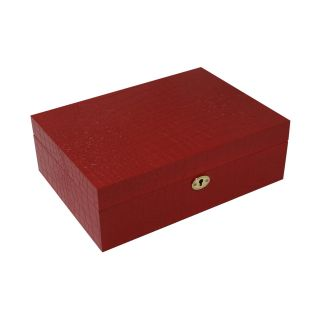Bey Berk Croco Design Wood Jewelry Box   11.25W x 4H in.   Womens Jewelry Boxes