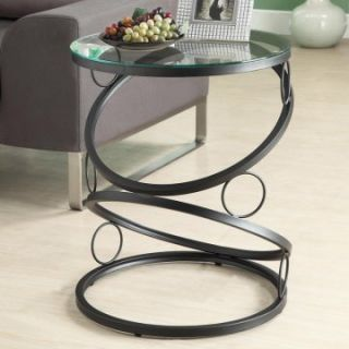 Monarch Round Matte Black Metal Accent Table with Tempered Glass Top   End Tables