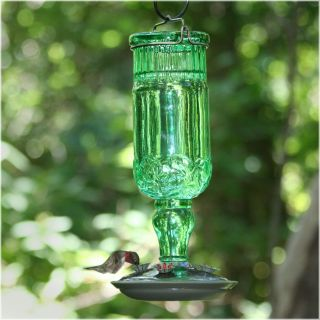 Perky Pet 24 oz. Green Antique Bottle Hummingbird Feeder   Bird Feeders