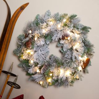 24 Inch LED Battery Operated Flocked Prelit Wreath with Timer   Christmas Wreaths