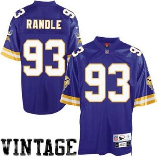 Reebok NFL Equipment Minnesota Vikings #93 John Randle Purple Tackle Twill Throwback Football Jersey