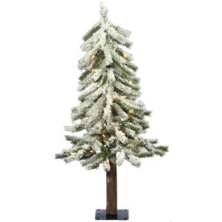 Pre lit Clear Light 3 ft. Flocked Alpine Tree   Christmas Trees