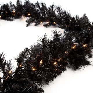 Classic Black 9 ft. Pre lit Garland   Christmas Garland