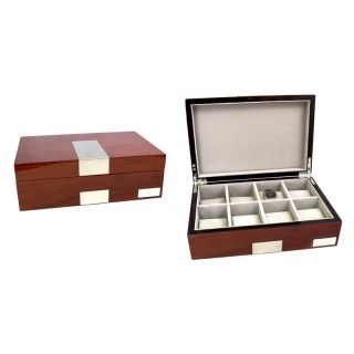 Bey Berk Personalized High Gloss Lacquered 8 Watch Box   Walnut Finish   11.85W x 3.25H in.   Watch Winders & Watch Boxes