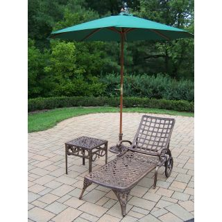Oakland Living Elite Cast Aluminum Chaise Lounge Set with Umbrella and Stand   Outdoor Chaise Lounges
