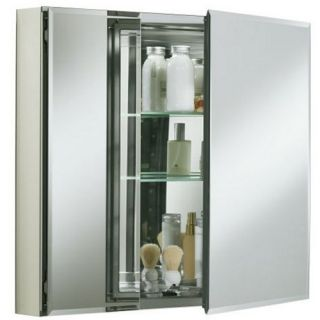Kohler Double Door 30 Inch Aluminum Cabinet with Mirrored Doors   Medicine Cabinets
