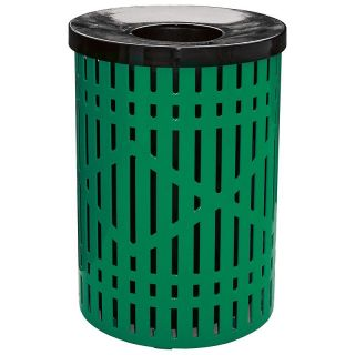 Leisure Craft 32 Gallon Diamond Trash Receptacle with Liner and Lid   Trash Cans