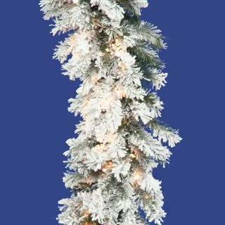 16 in. x 9 ft. Flocked Alaskan Pre lit Garland   Christmas Garland