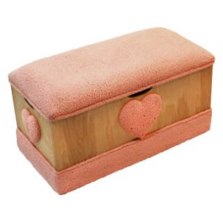 Harmony Kids Wooden Toy Box   Pink Cuddle Fur Heart   Toy Storage