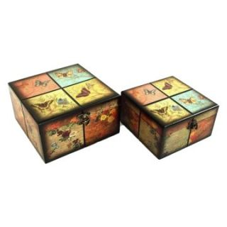 Keystone Decorative Butterflies Jewelry Box   Set of 2   Trinket Boxes