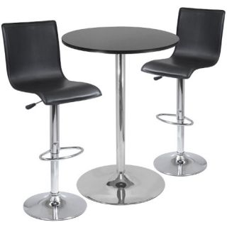 Winsome 3 Piece Pub Table Set with L Shape Back Air Lift Stools   Pub Tables