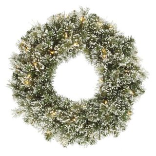 Vickerman 24 in. Pre Lit Frosted Cashmere Wreath   Christmas Wreaths