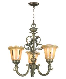 Dale Tiffany Columbus 3 Light Tulip Art Glass Fixture   16W in. Antique Brass   Tiffany Ceiling Lighting