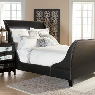 Parker Low Profile Leather Sleigh Bed   Beds