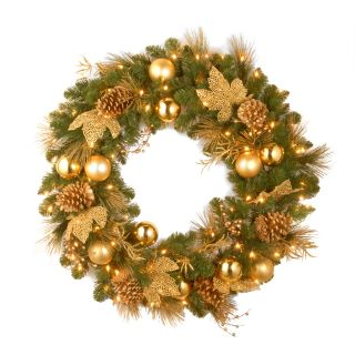 36 in. Decorative Collection Elegance Pre Lit Christmas Wreath   Christmas Wreaths